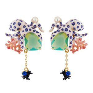 Les Nereides Octopus And Pink Coral Earrings